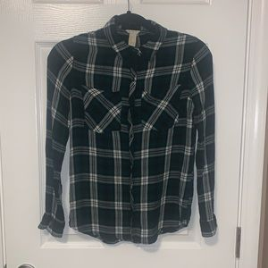 Button up green plaid blouse